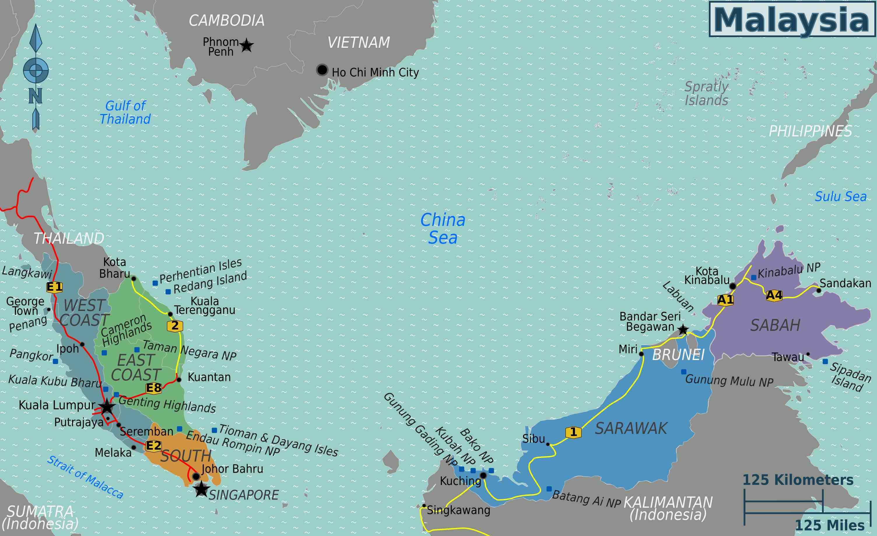 Kaart van Maleisië