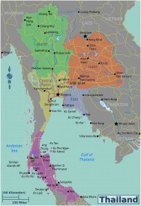 Kaart van Thailand