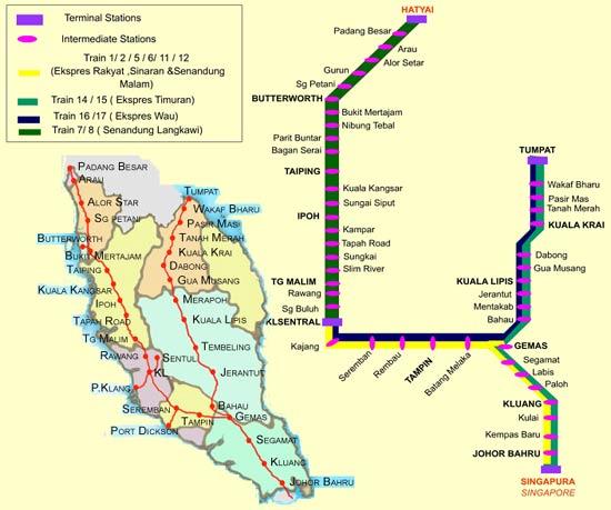 Rondreizen in Maleisië met de trein kan van noord naar zuid of van oost naar zuid