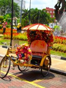 Rondreizen in Maleisië kan ook met de fietsriksja - althans voor korte afstanden