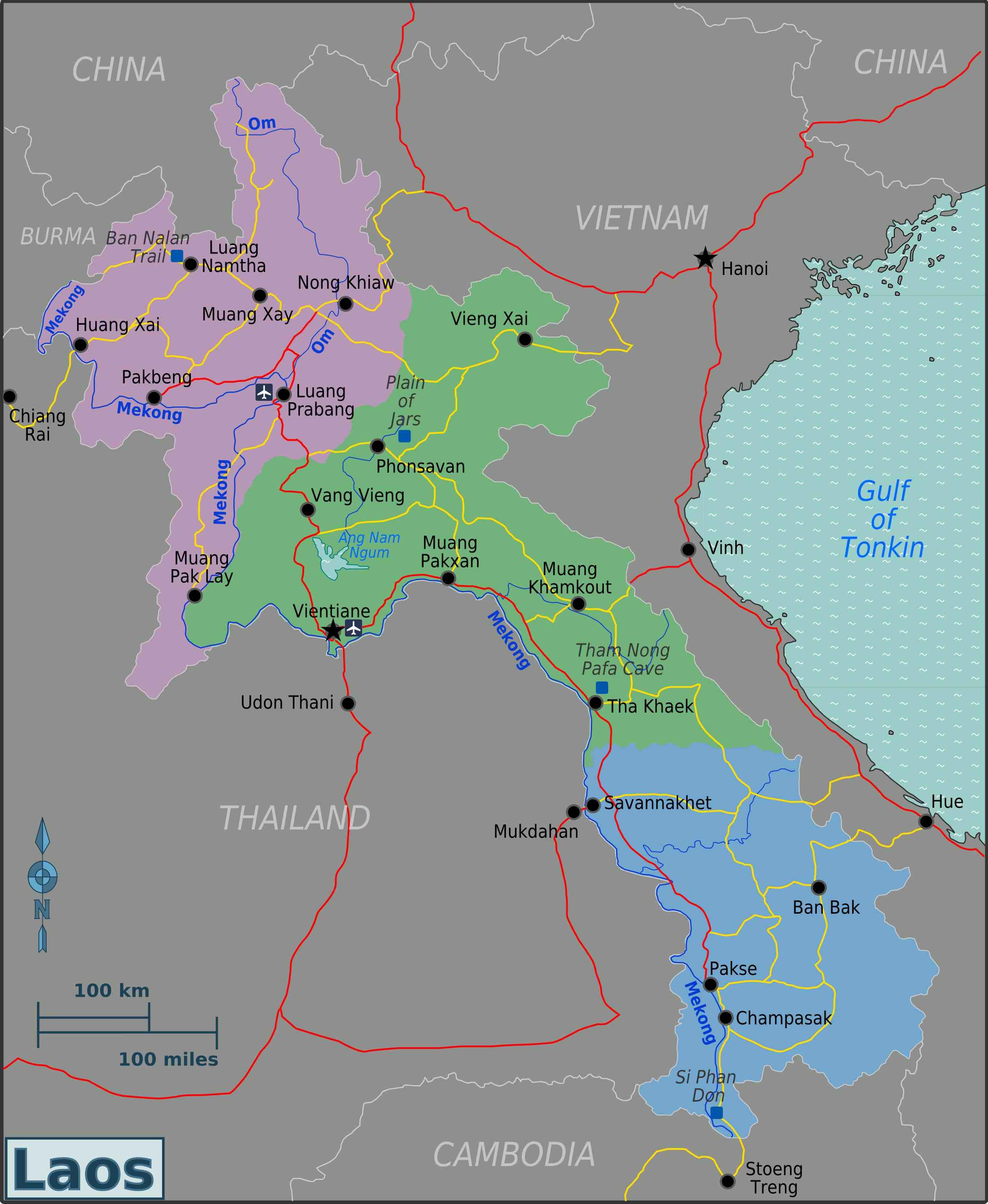 De kaart van Laos