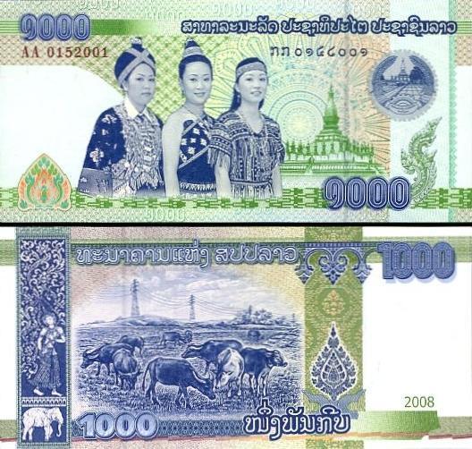 Reiskost in Laos: betalen in Laos doe je met de Laotiaanse kip.