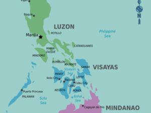 De kaart van de Filipijnen kun je in drie grote eilandengroepen onderverdelen.