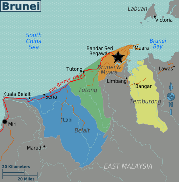 De kaart van Brunei