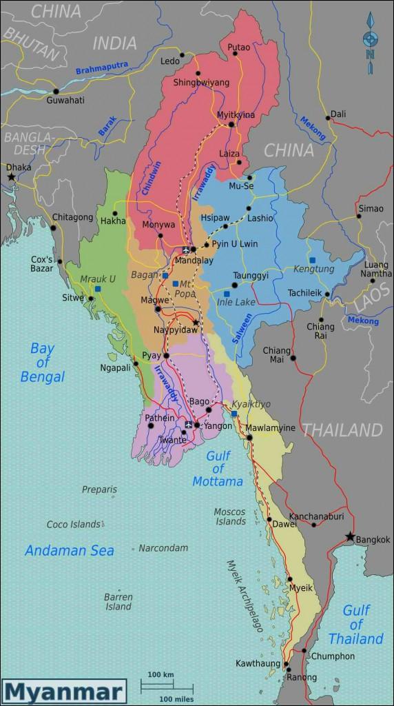 De kaart van Myanmar