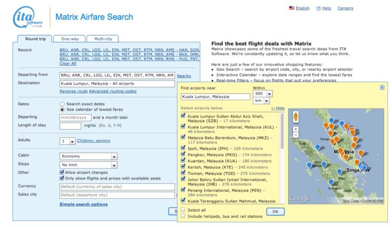 De Matrix is de eerste stap in het vinden van het goedkoopste ticket naar Maleisië