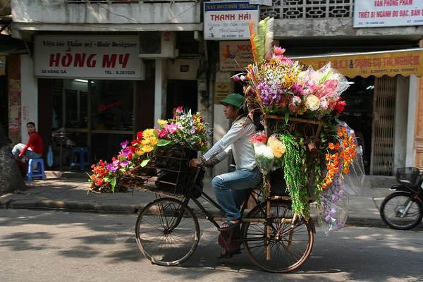 bloemenwinkel op fiets