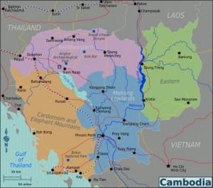 De belangrijkste bezienswaardigheden van Cambodja op de kaart