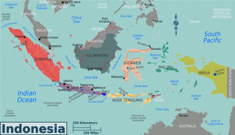 bezienswaardigheden van Indonesië kaart