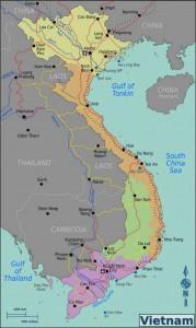 Kaart belangrijkste bezienswaardigheden van Vietnam