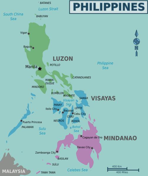 De bezienswaardigheden van de Filipijnen opgedeeld volgens de grote eilandengroepen: Luzon, Mindanao en de Visaya's