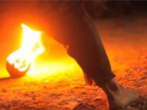 voetballen met vuur