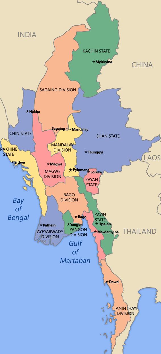 Kaart Myanmar: het conflict speelt zich af in Kachin, Karen, Shan en Rakhine