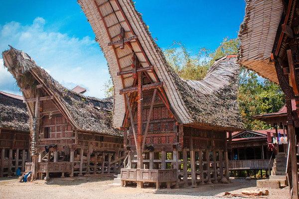 De Toraja huizen zijn één van de bezienswaardigheden van Sulawesi, Indonesië