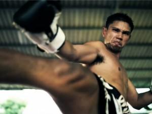 portret van een muay thai bokser