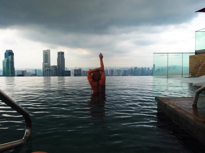 Rooftop zwembad van het Marina Bay Sands