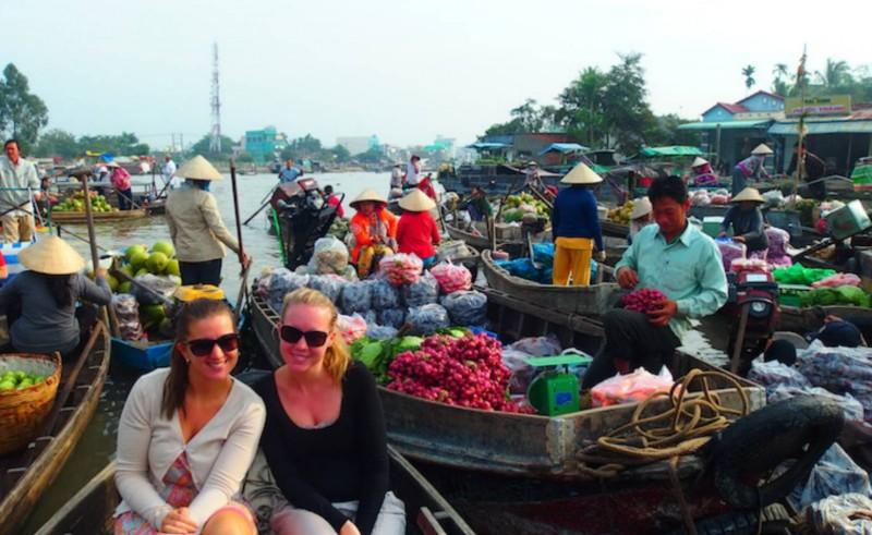 Zuid-Vietnam drijvende markt Can Tho