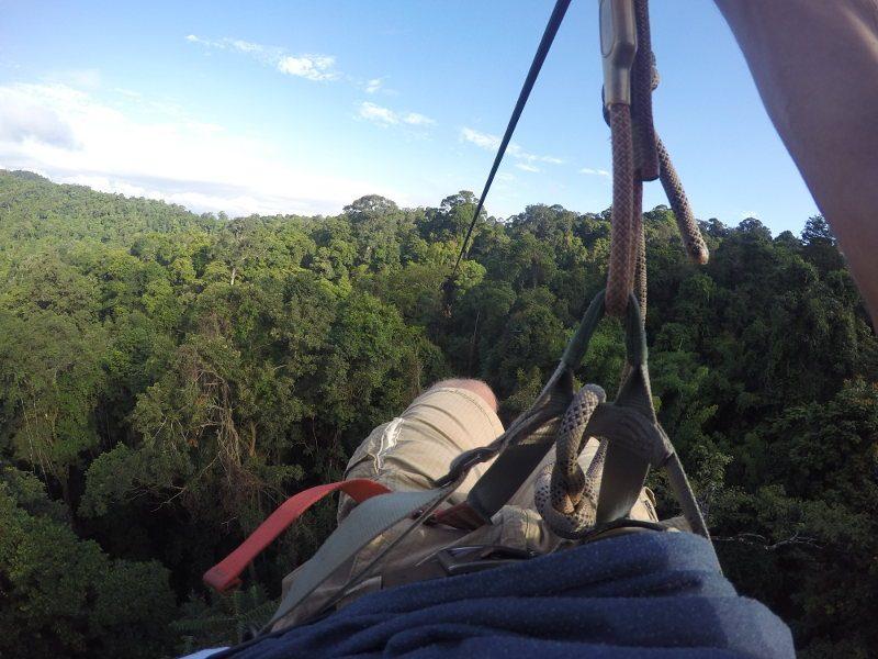 De langste zipline is 570 meter en duurt bijna een minuut.